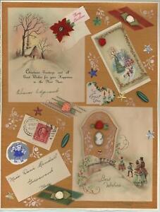 CHRISTMAS-GOLD-ART-DECO-OOAK-COLLAGE-ARTIST-SIGNED-w-1930-039-s-EPHEMERA-PAINTING