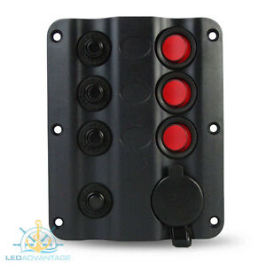Details about 12V 3 GANG + CIGARETTE WAVE LED BOAT CARAVAN SWITCH PANEL on