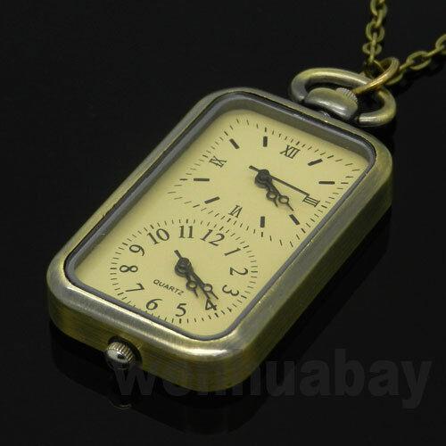 Bronze Vintage Quartz Pocket Watch Dual Double Time Zone Movement Necklace P11