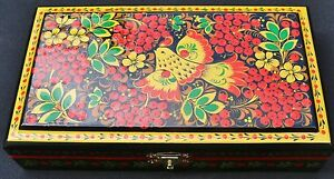 Hand crafted Russian Khokhloma lacquer art jewelry trinket box signed by artist - Cornwall, United Kingdom - Hand crafted Russian Khokhloma lacquer art jewelry trinket box signed by artist - Cornwall, United Kingdom