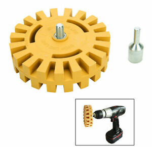 "Decal Removal Eraser Wheel w// Power Drill Arbor Adapter 4/"" Rubber Pinstr~PL"