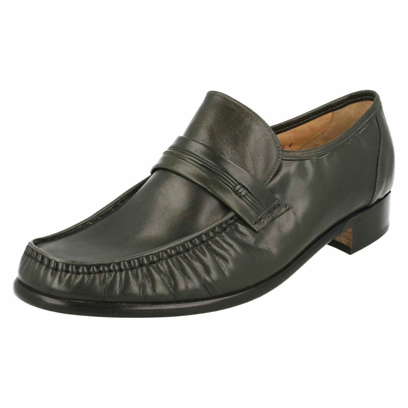 Grenson 'Clapham' Gents Bench Made Grey Leather Slip G On True Moccasin Loafers G Slip f0d514
