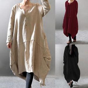 fb82e0a7e7 US Plus Size Womens Loose Vintage Linen Kaftan Oversized Baggy Long ...
