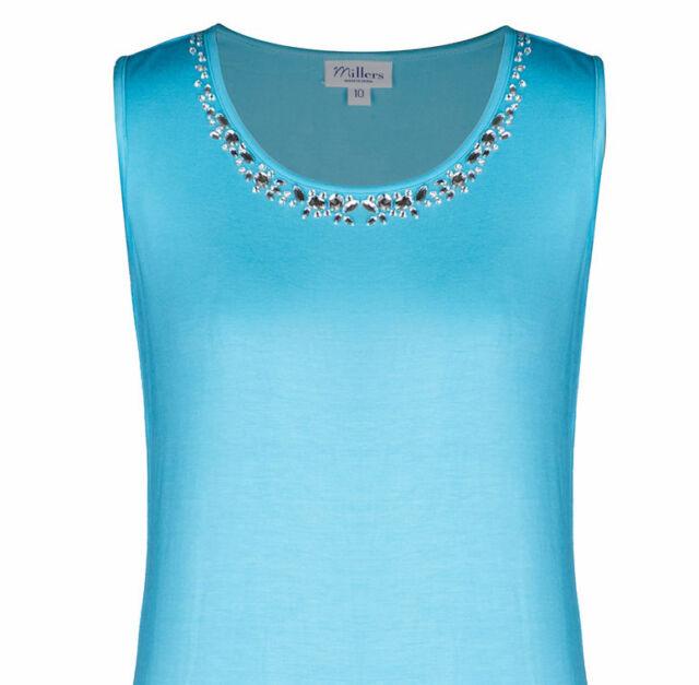 Women 18 20 Chic Blue Soft Stretch Viscose Clear Cut Crystal Look Long Tank Top