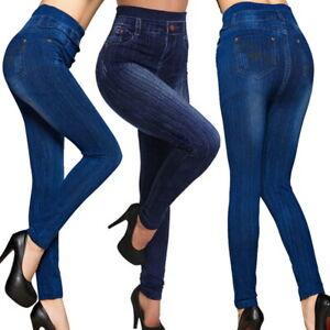 Para-mujeres-Cintura-Alta-Pantalones-Jeggings-Skinny-Jeans-Damas-Wash-Denim-Pantalones-De-Vestir