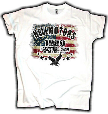 USA Adventure Team Biker Hotrod Herren T-Shirt Flag Chopper US Car V8 Oldschool