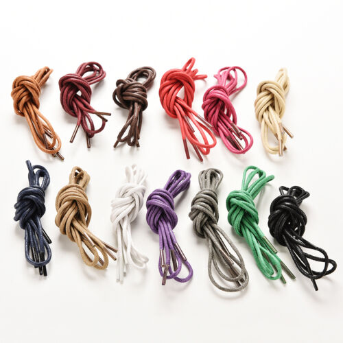 Multi Color Cotton Waxed Round Cord String Dress Shoe Laces 85cm 1 Pair BE
