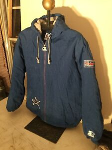 Vtg Starter Dallas Cowboys Pro Line NFL Authentic Jacket Coat Adult ... c95243f95