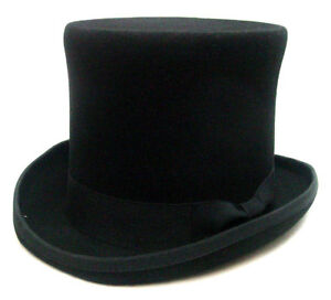 4a7d1667c1a Mens Top Hat Topper Classic Style black wool felt fully lined S-XXL ...