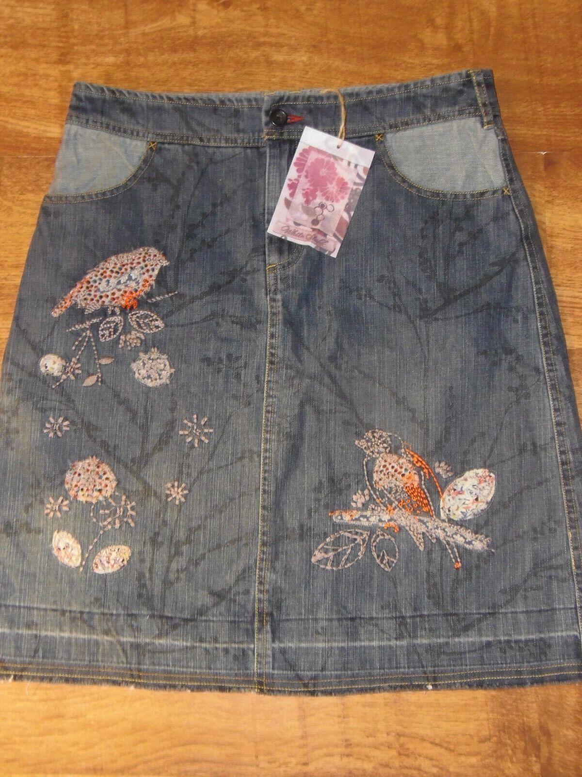 BNWT Stunning White Stuff Embroidered  Denim Skirt 10-12 bird flower leaf branch