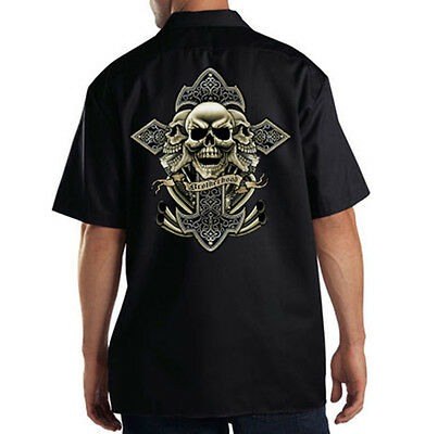 Dickies Black Mechanic Work Shirt Biker Brotherhood Cross & Skulls Motorcycle