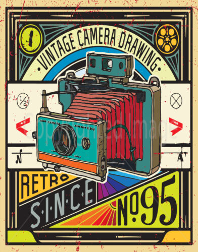 VINTAGE CAMERA DRAWING  LARGE METAL TIN SIGN POSTER  RETRO WALL  PLAQUE
