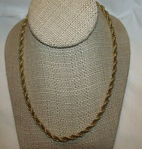 Necklace three strand string gold looking heavy rope chain necklace
