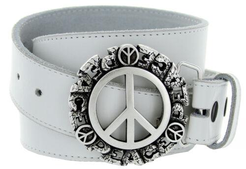 Peace Sign Italian Belt Buckle Genuine Leather Casual Jean Belt