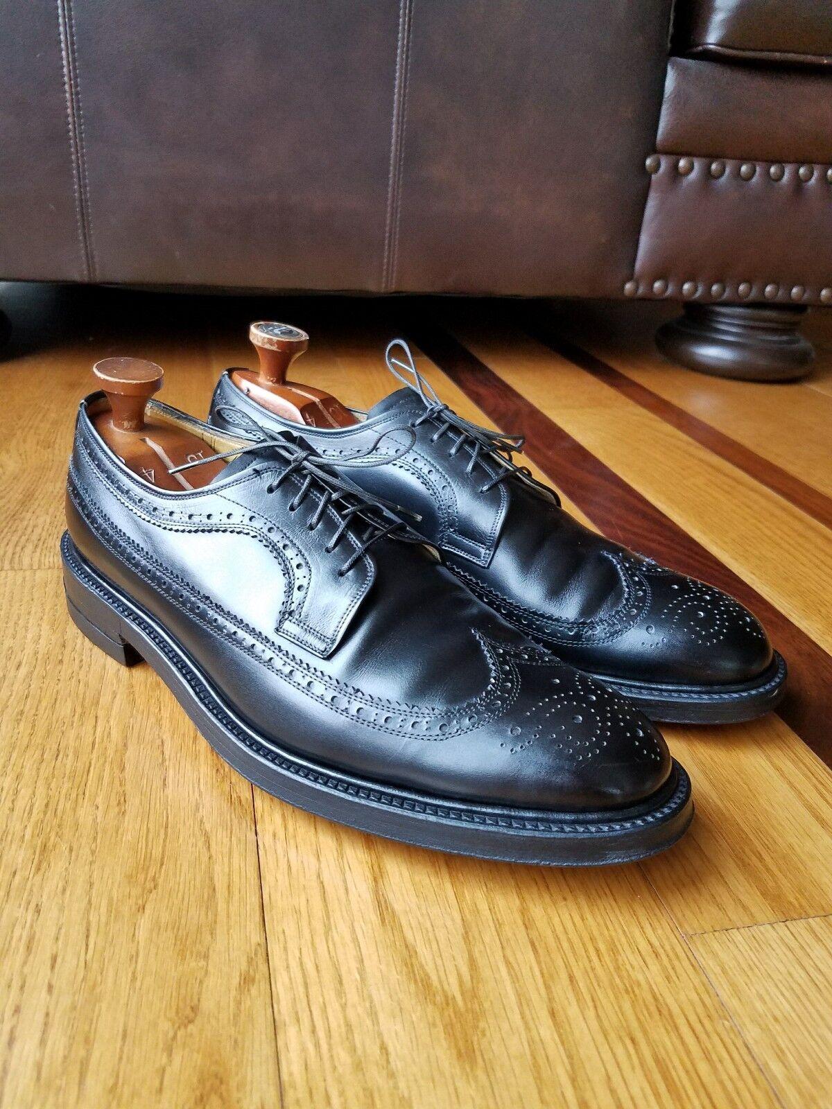 Vintage KOW HOO Men's nero Calf Leather  Long Wingstip Oxford scarpe Dimensione 9.5  lo stile classico