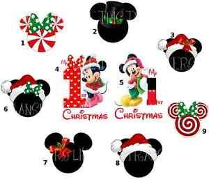minnie mickey mouse christmas xmas iron on heat transfer t shirt