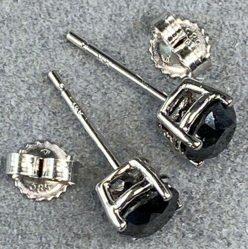 14K White Gold Black Diamond Stud Estate Earrings