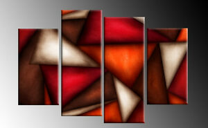 4 PANEL CANVAS ABSTRACT CANVAS ART RED BROWN ORANGE TRIANGLES ART MULTI  40/""