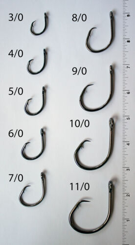 25 Size 4//0 4x Strong Offset Circle Hooks Custom Offshore Tackle L2004