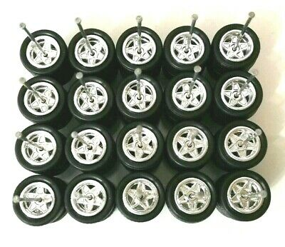 12mm Long RUBBER TIRE RIMS R105 Hot Wheels 1//64 Set /> Slotted Real Riders Grey