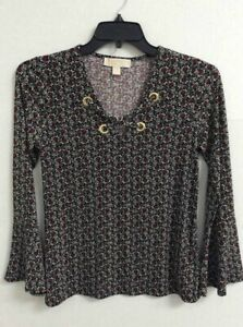 Michael-Kors-Womens-Blouse-Black-Floral-Bell-Sleeve-Scoop-Neck-Stretch-Eyelets-S