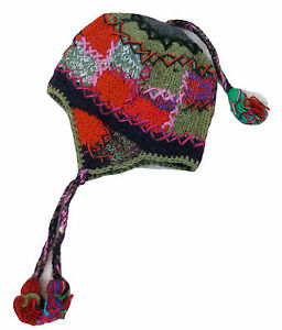 2e551d7cf79 FAIR TRADE Hand Knitted Funky Patchwork Woolen Ski Hat Polar Fleece ...