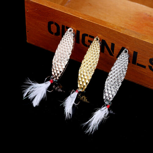 10//15//20g Metal Fishing Spoon Bass Baits Feather Bait Jig Wobbler Lure Bait YEHN