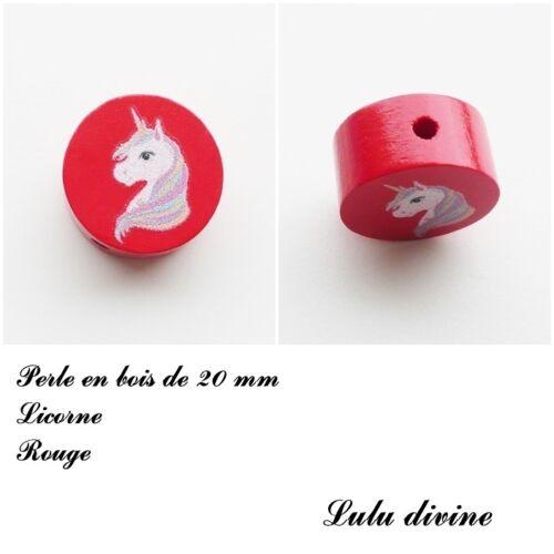 Perle plate Licorne Perle en bois de 20 mm Rouge