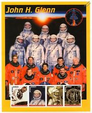 Astronaut JOHN GLENN (Mercury) Crews/Return to Space Stamp Sheet (1999 Antigua)