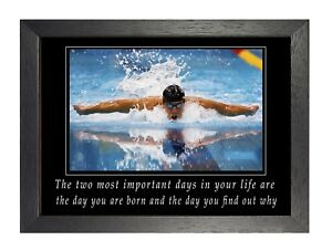 15 Swimming Photo Inspirational Quote Motivation Print Water Sports Poster
