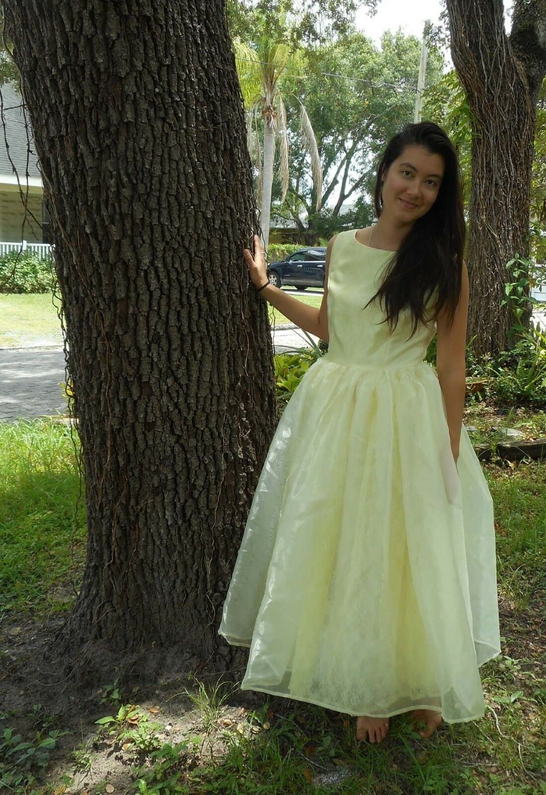 Bespoke Bridesmaid Prom Gown Yellow Ivory Organza Lace Small Handmade Full Skirt