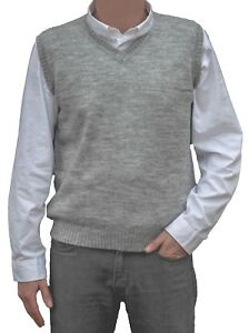 TINKUY-PERU-100-Alpaca-Wool-Men-s-Knit-V-Neck-Pullover-Gray-Sweater-Vest