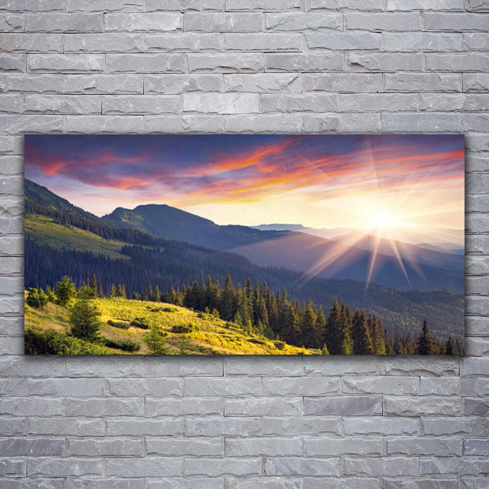 Photo sur toile Tableau Image Impression 120x60 Paysage Forêt Montagne Soleil
