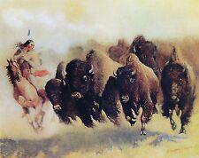 "1910- Edward Borein, The Buffalo Hunt, Native American Art, Western, 14""x11"""