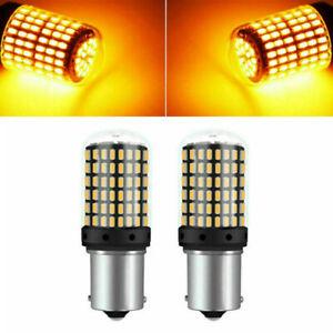 Lampe-Clignotant-Feu-2pcs-Set-Voiture-1156-BA15S-3014-144SMD-LED-Ambre