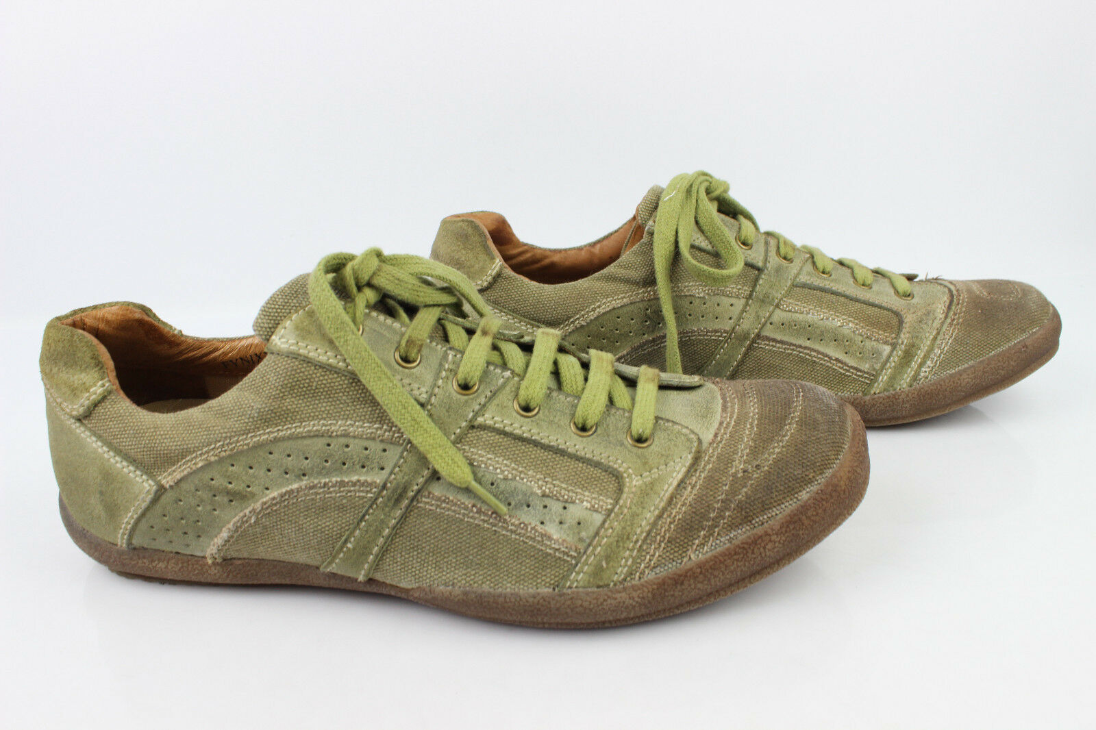 Sneaker Derby shoes STEVE MADDEN Leather and Canvas green Uk 11 Fr 45,5