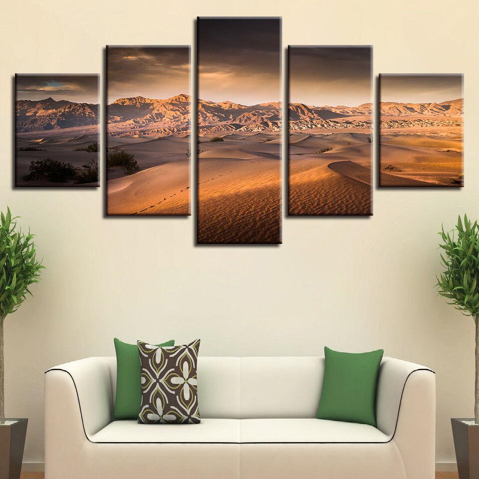 Desert And Mountain Landscape 5 Panel Canvas Print Wall Art