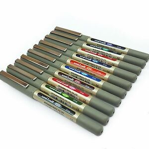 10-x-Uni-Ball-UB-157-Rollerball-Pen-Set-Complete-Set-of-All-10-Colours