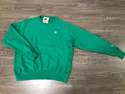 Champion Reverse Weave Small C Patch Logo Kelly Green Crew Neck Sweatshirt S NEW | eBay