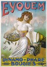 LOUIS GALICE AFFICHE ANCIENNE  EYQUEM DYNAMO PHARES BOUGIES circa 1900