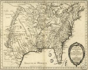 1770 North America Lousiana Territory French Old Map Ebay