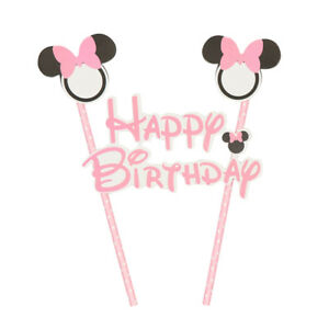 Minnie-Mouse-Noeud-Rose-Drapeau-Cake-Topper-Happy-Birthday-Party