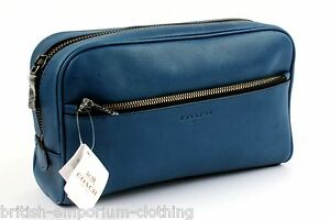 Coach Cobalt Blue Leather Travel Toiletry Make Up Bag Case New + Tags Authentic Auf Der Ganzen Welt Verteilt Werden