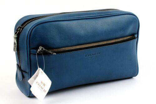 Bnwt Cobalt Coach Bag Blue Up Travel Toiletry Leather Case Make pxqd6xzw