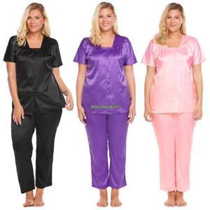 e31c8e0c9911b Details about Women Short Sleeve Button Front Tops   Pants Satin Pajama Set  Plus Size EH7E