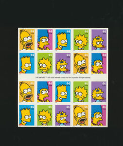 The-Simpsons-2009-Mint-NH-Full-Sheet-of-20-Stamps-4399-4403-Convertible-Booklet