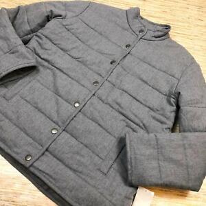 I-112-Treasure-amp-Bond-Women-039-s-Gray-Flannel-Puffer-Jacket-GREY-size-L
