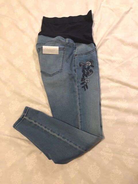 c4a9f3c5ee3b6 a:glow Maternity Jeggings: Full Belly Coverage, Skinny Leg Opening: Blu,
