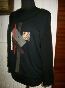 Tee-shirt-noir-manche-longue-PAUSE-CAFE-T-44-stretch-patchwork-modal-polyester