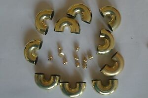 20 brass U shape pipe 20 nuts for trumpet/cornet sliders no varnish repair new